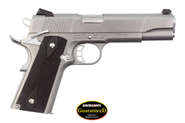 "Regent 1911 Model R200 S 45 acp, semi automatic pistol, stainless finish, hogue checkered grips, combat style sights, 5"" barrel, overall length 8.625"", caliber 45, weight 40 oz , capacity 7+1."