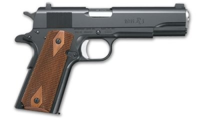 Remington 1911 R1 45 ACP, Black Walnut Double Diamond Grips, Single Action, Capacity 7 +1 rounds, White dovetail sights, two magazines, finish black oxide, single action.