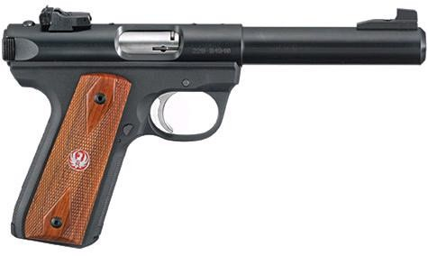 "Ruger Mark lll 22/45 22 caliber LR. semi auto pistol, single action, blue finish, polymer frame, cocoholo grips, capacity 10 + 1, 2 magazines, barrel length 5.5"", 1-in-16 twist, adjustable sights."